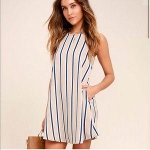 Lulus Tan & Blue Vertical Striped Mini Dress
